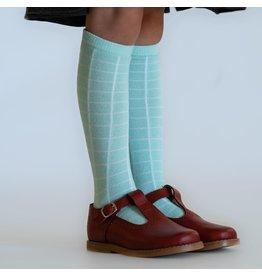 Little Stocking Co. Aqua Mint Grid Knee Highs