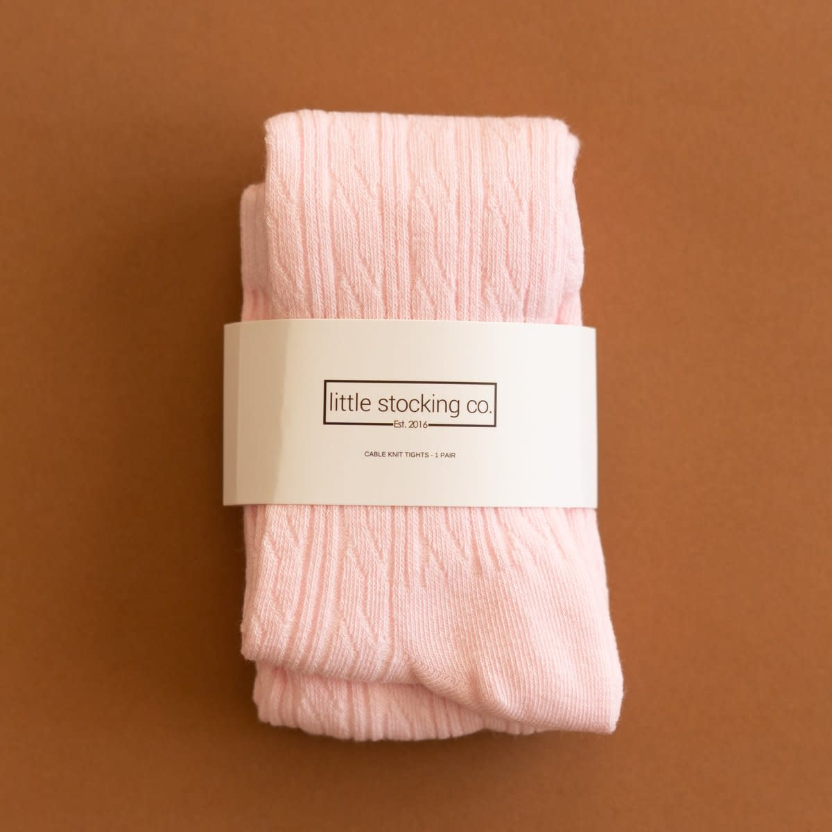 Little Stocking Co. Cable Knit Tights- Light Pink