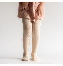Little Stocking Co. Cable Knit Tights- Vanilla Cream