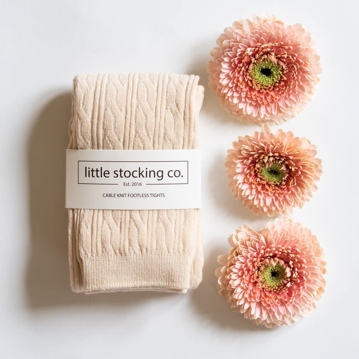 Little Stocking Co. Cable Knit Tights- Vanilla Cream