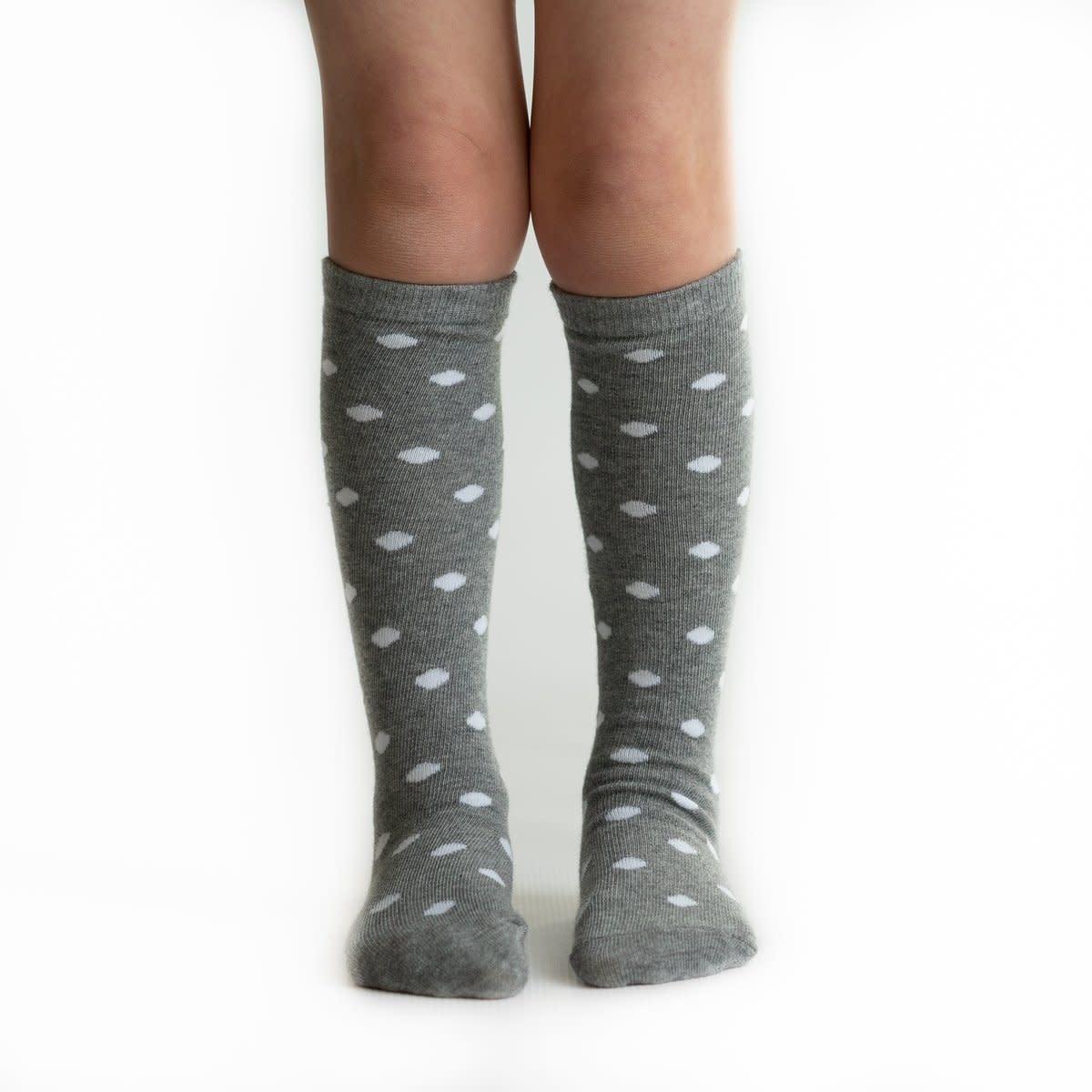 Little Stocking Co. Gray Dot Knee Highs
