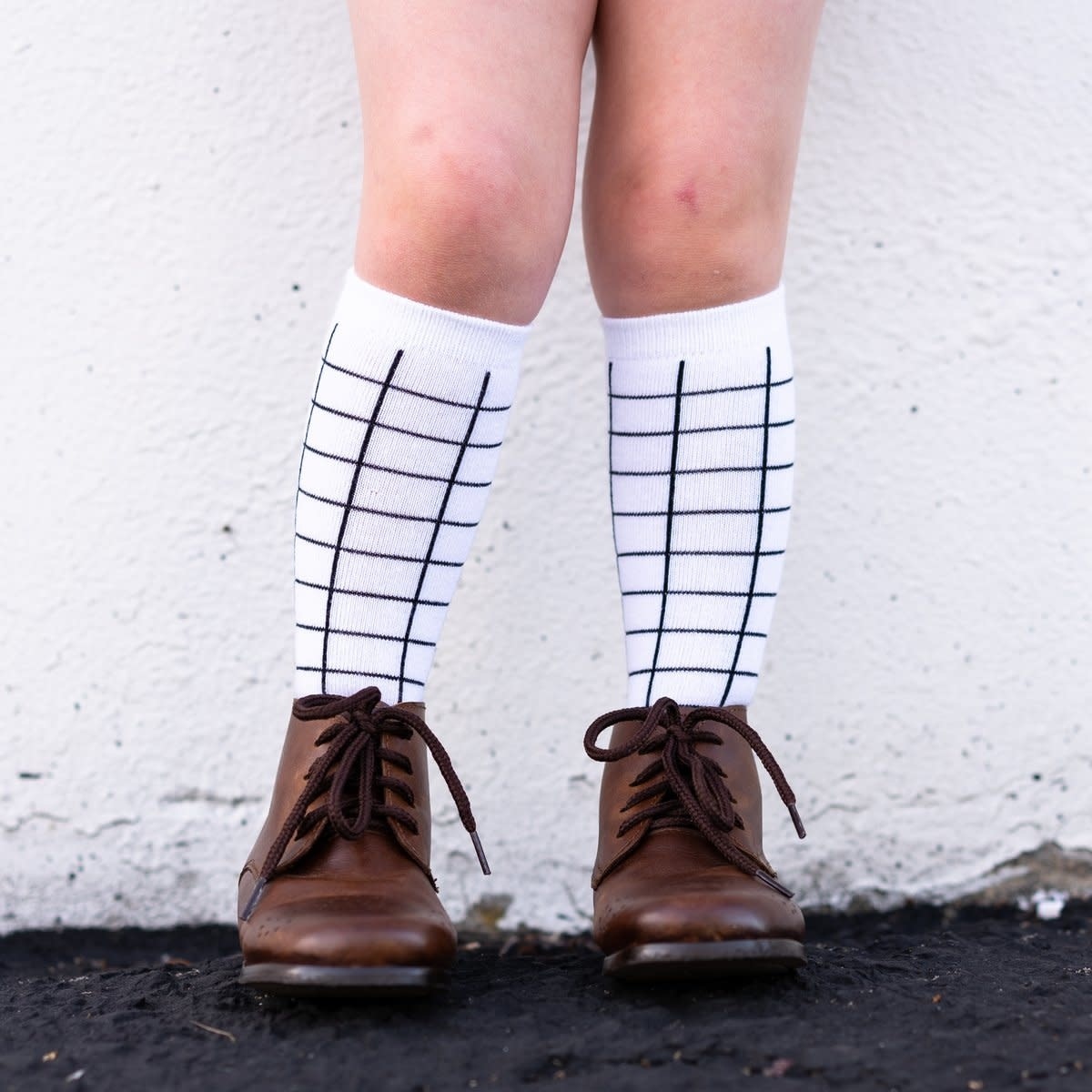 Little Stocking Co. White and Black Grid Knee Highs