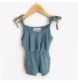Carken Design Medium Blue Linen Tie Romper