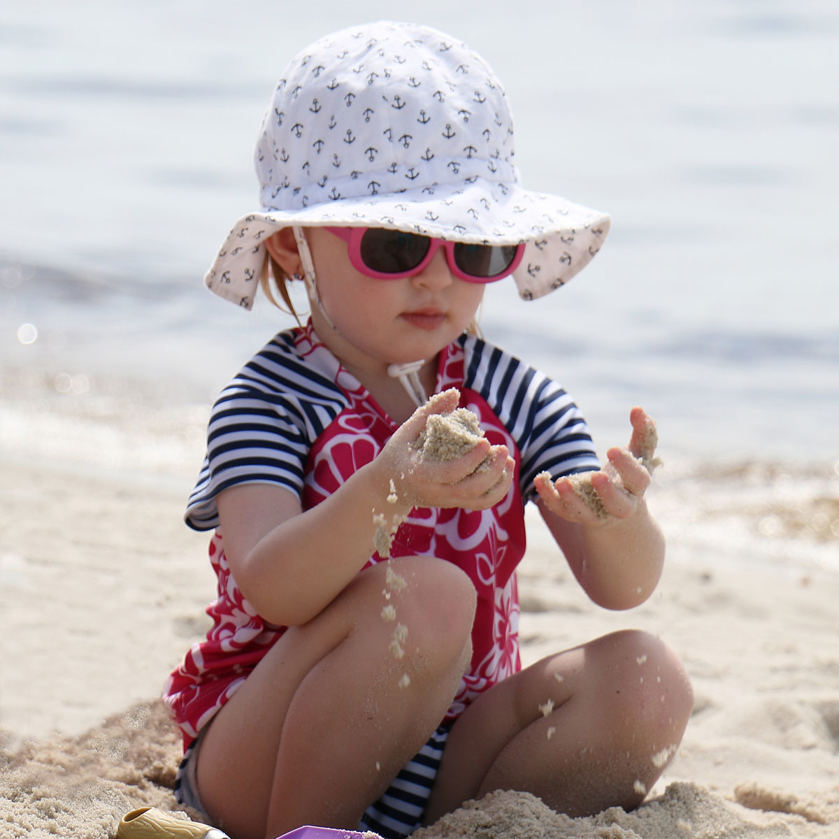 Jan & Jul Cotton Floppy Sun Hat- Anchor