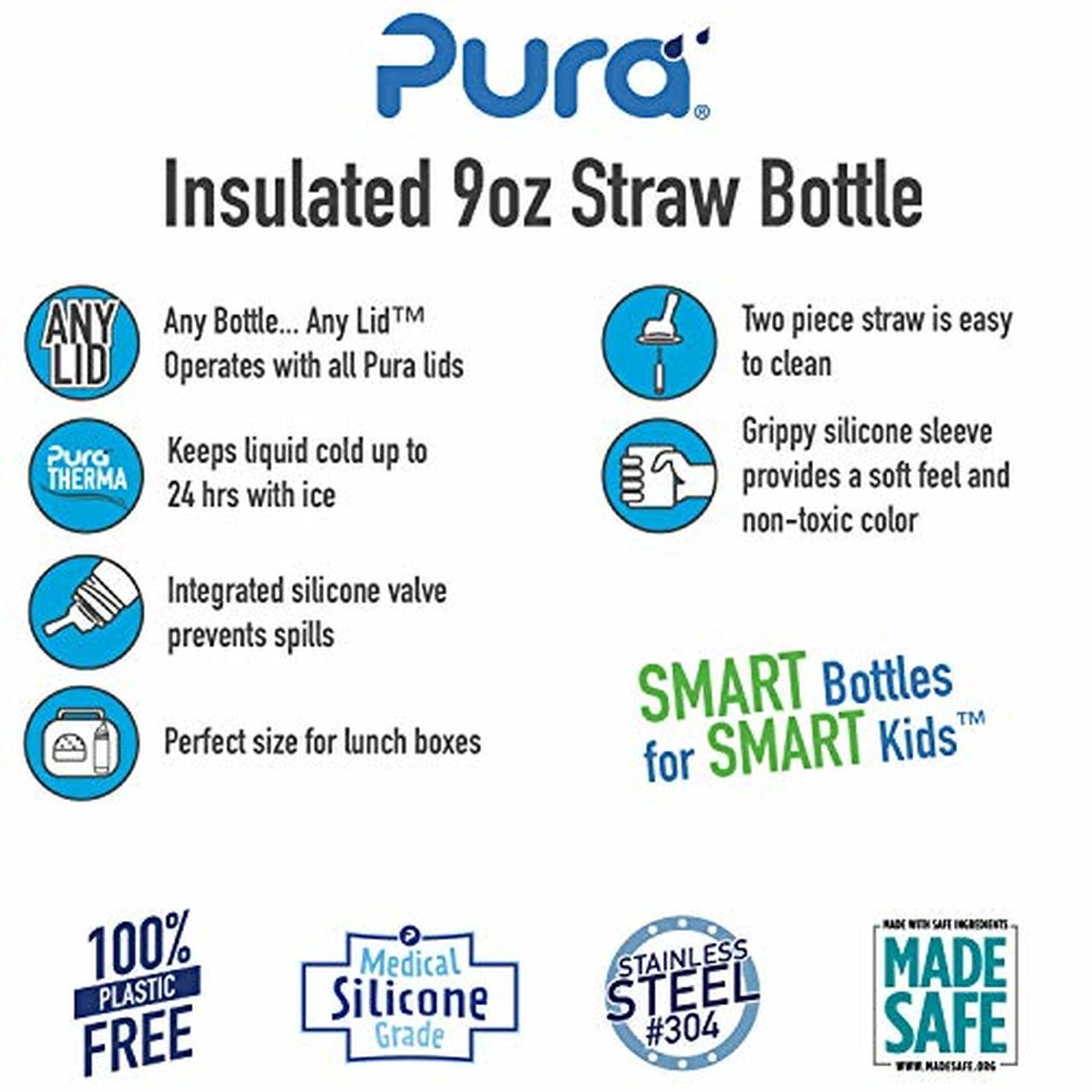 Pura Stainless 9oz Insulated Straw Bottle- Aqua