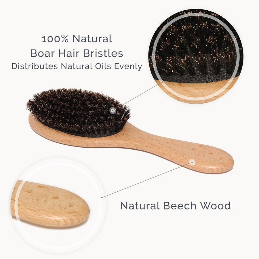 Natemia Wooden Boar Bristles Hair Brush Set