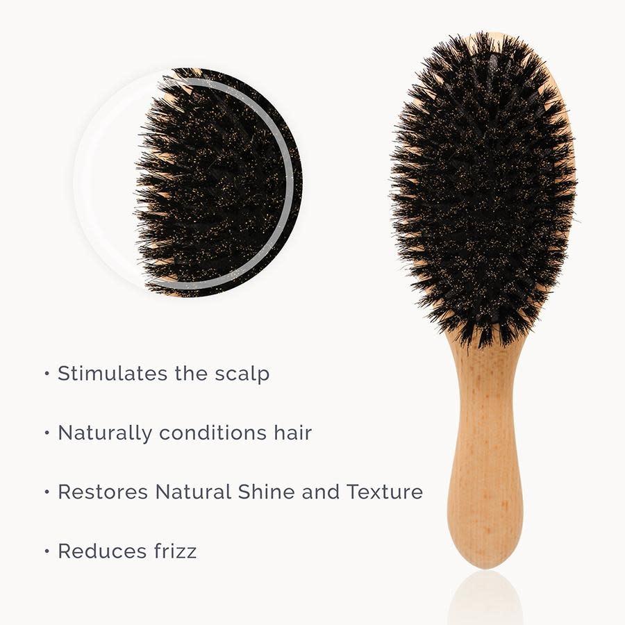 Natemia Wooden Boar Bristles Hair Brush Set