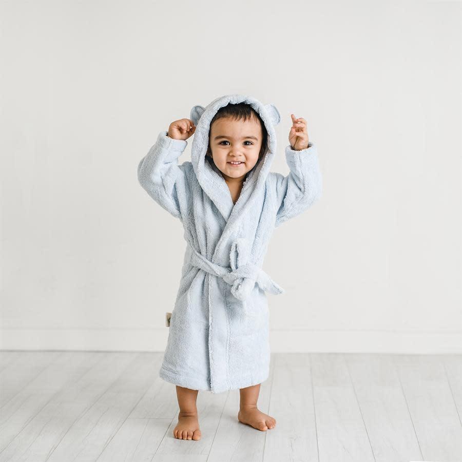 Natemia Organic Cotton Hooded Robe- Blue
