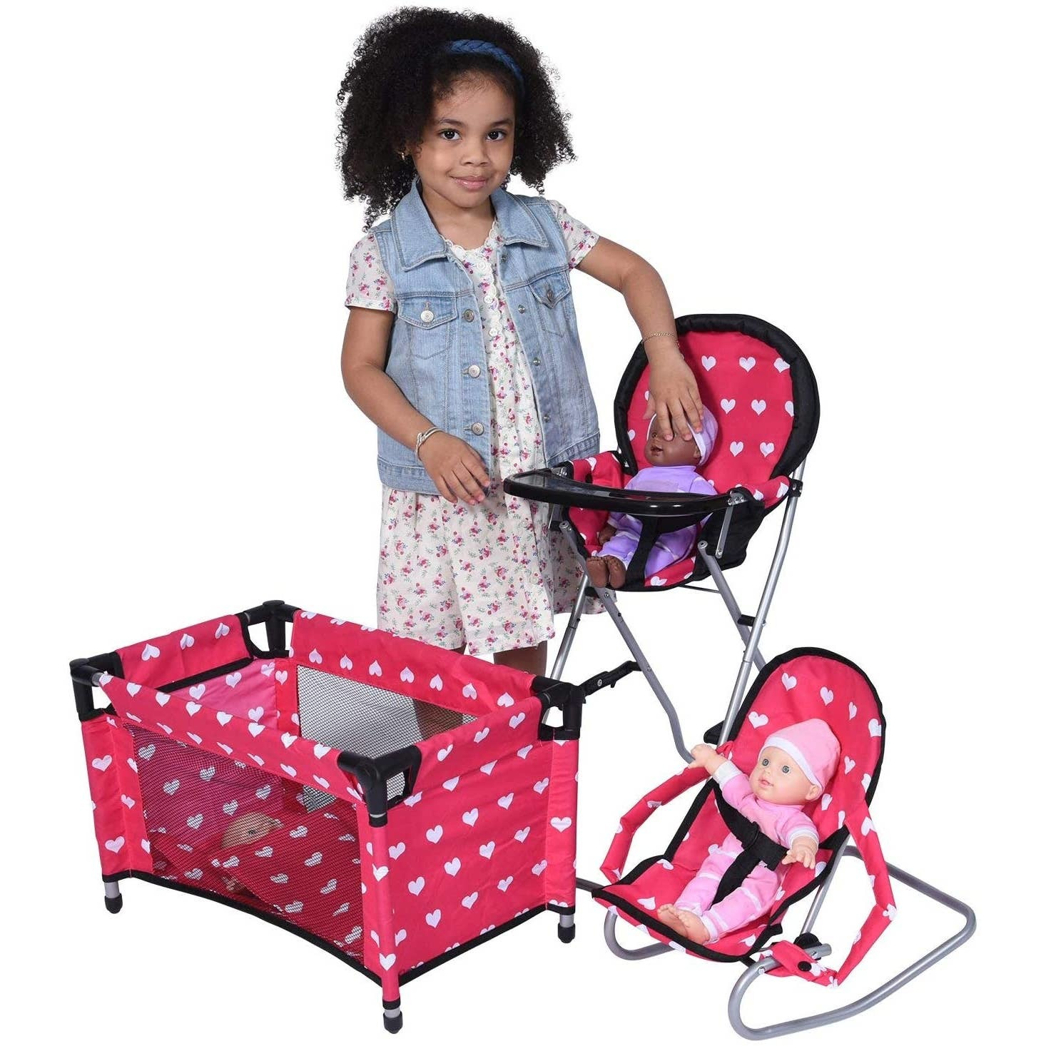 The New York Doll Collection Dolls Mega Play set with High Chair, Bouncer and Pack N Play