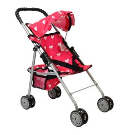 The New York Doll Collection My First Doll Stroller Pink Hearts