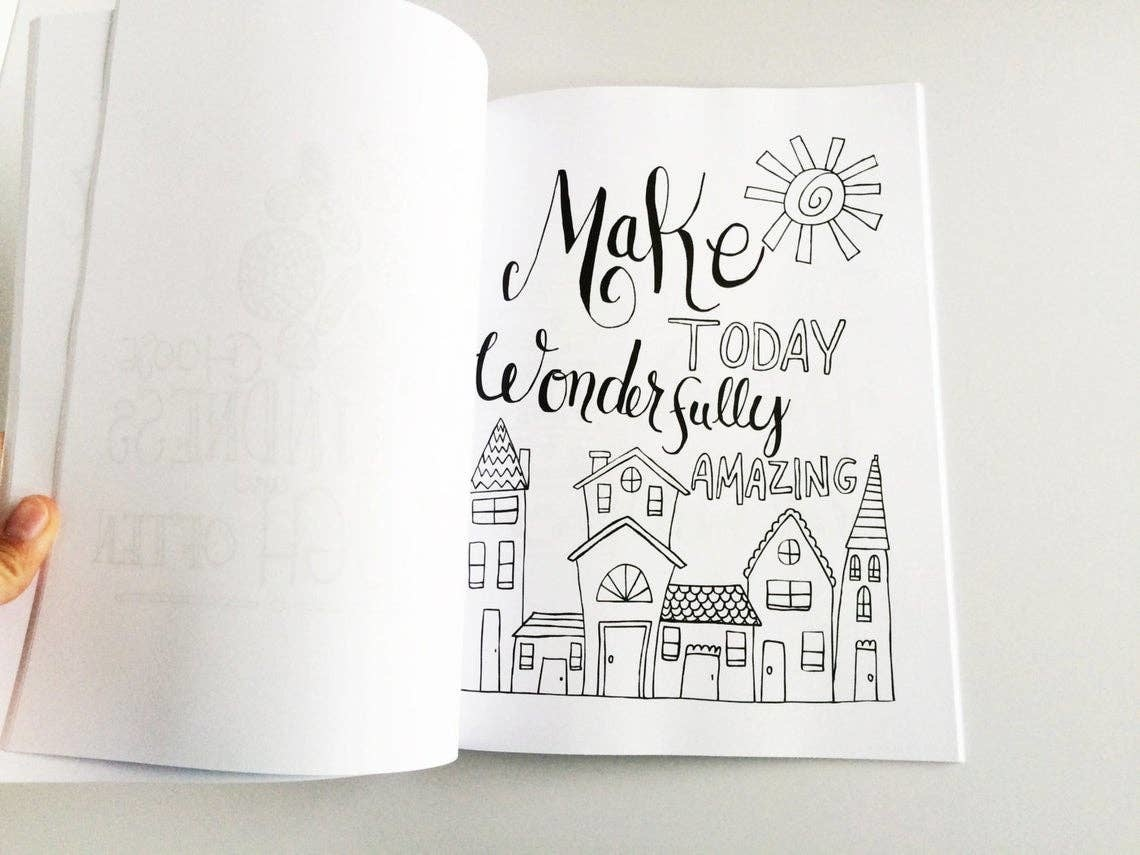 Emily Cromwell Designs Happy Thoughts Inspirational Coloring Book