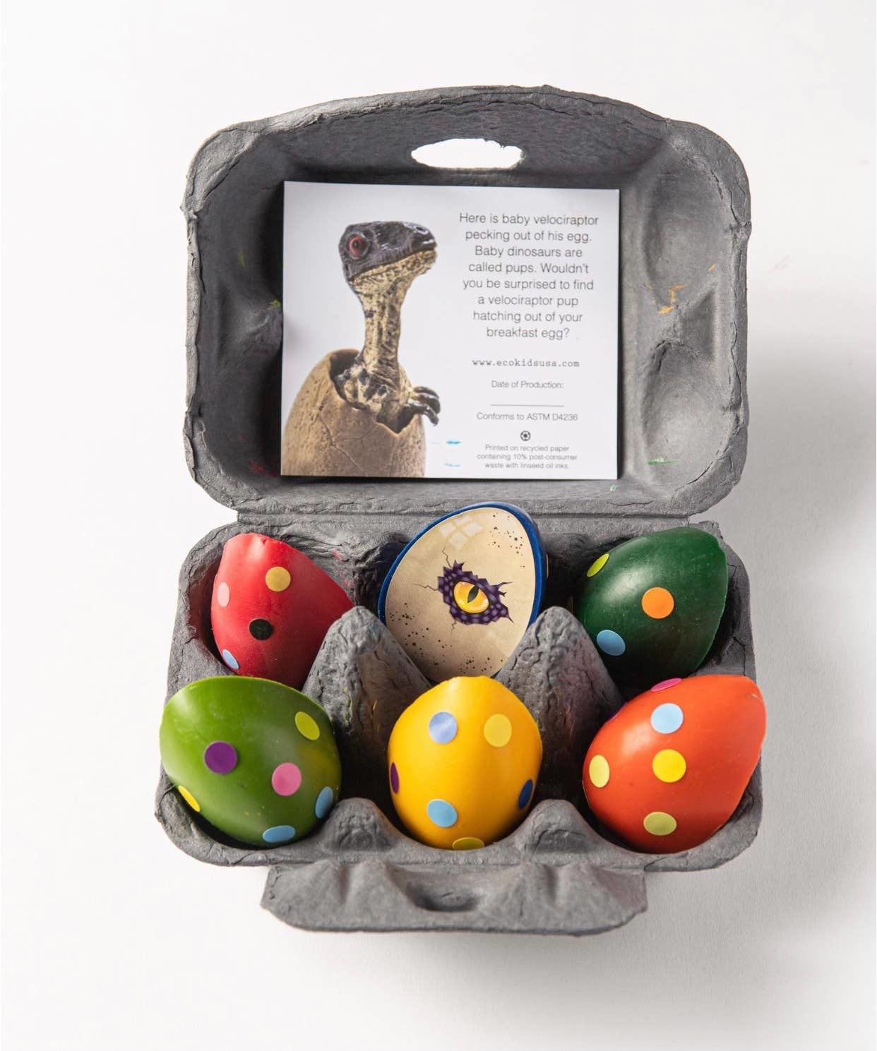 Eco-Kids eco dinosaur eggs beeswax crayons, case of 6