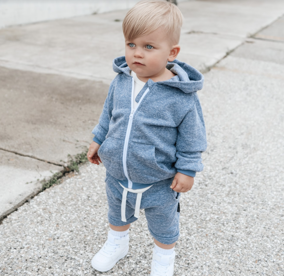 Little Bipsy LB Washed Zip Hoodie- Navy