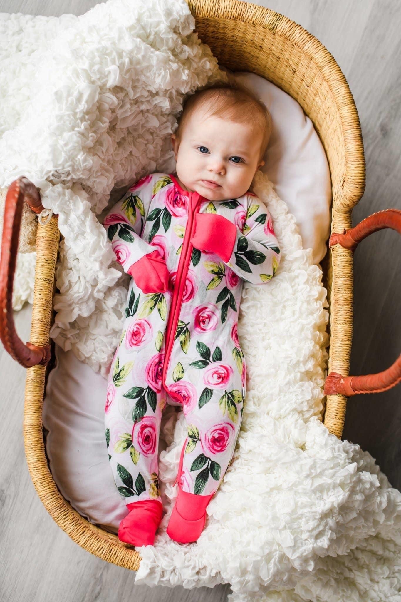 Little Sleepies Zip Romper- Roses