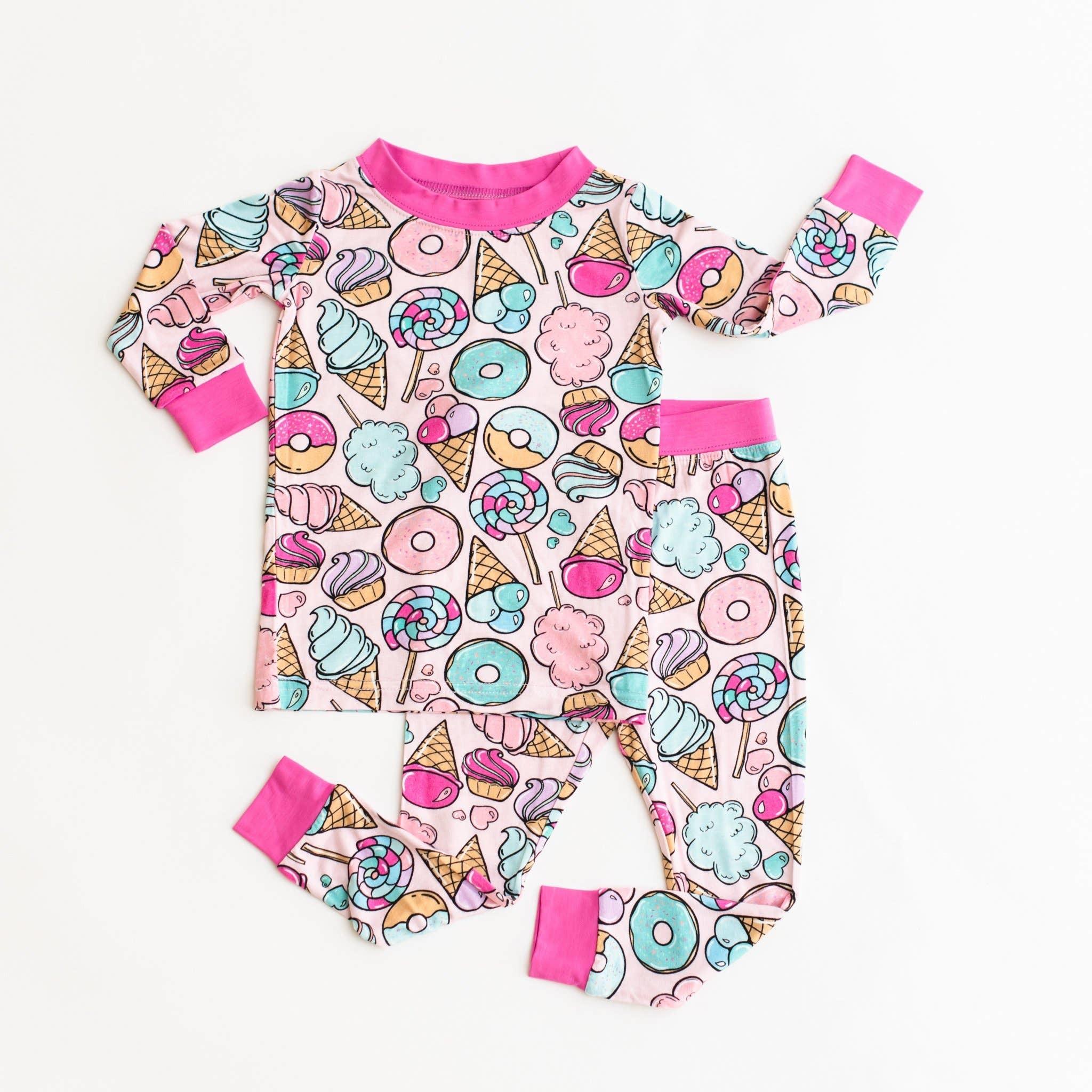 Little Sleepies Two Piece Bamboo Pajama- Pink Sweet Treats