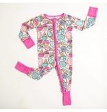 Little Sleepies Zip Romper- Pink Sweet Treats