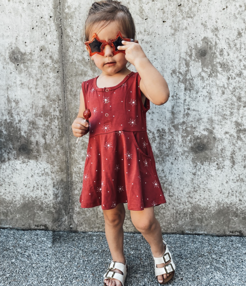Little Bipsy LB Star Swoop Dress- Red