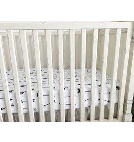 Modern Burlap Organic Crib Sheet- Arrows