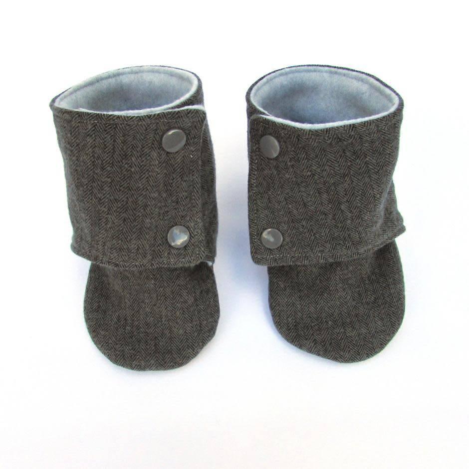Grey Herringbone Baby Boots