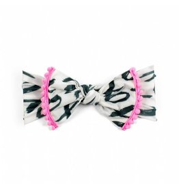 Baby Bling Trimmed Printed Knot Bow