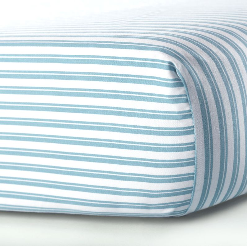 Oilo Aqua Stripe  Sateen Crib Sheet