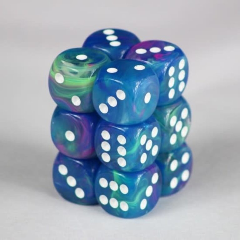 Chessex Dice d6 (12 dice) - Waterlily /white