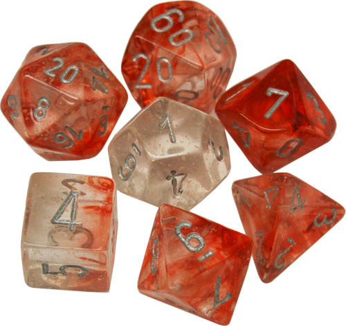 Chessex Lab Dice 7 Set - Red/silver
