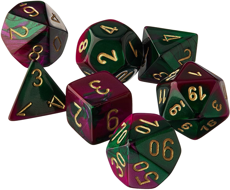 Chessex Dice 7 Set - Green-Purple/gold