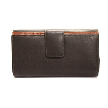 "MANCINI RFID LADIES 7"" CLUTCH BROWN/COGNAC (98-300)"