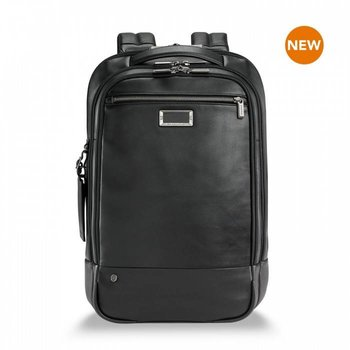 BRIGGS & RILEY @WORK LEATHER MEDIUM BACKPACK BLACK (KLP422-4)