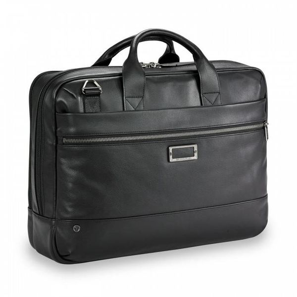 BRIGGS & RILEY @WORK LEATHER MEDIUM BRIEF BLACK (KLB422-4)
