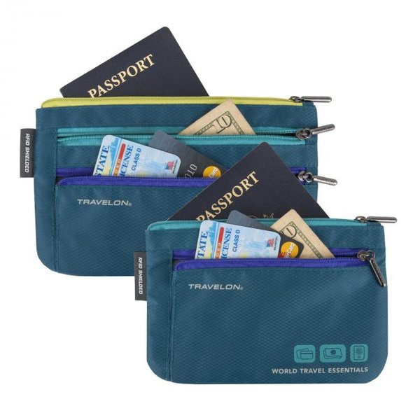 TRAVELON SET OF 2 CURRENCY & PASSPORT ORGANIZERS (43370