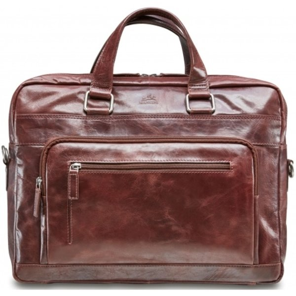 MANCINI SLIM LEATHER TOP ZIPPER LAPTOP BREIFCASE BURGUNDY (95-751)