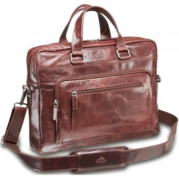 MANCINI SLIM LEATHER TOP ZIPPER LAPTOP BRIEFCASE BURGUNDY (95-751)