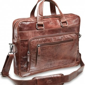 MANCINI SLIM LEATHER TOP ZIPPER LAPTOP BREIFCASE BROWN (95-751)