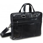MANCINI SLIM LEATHER TOP ZIPPER LAPTOP BREIFCASE BLACK (95-751)