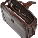 MANCINI FULL GRAIN THREE COMPARTMENT ROUND DOCTOR STYLE BROWN (95-601)