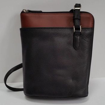 DEREK ALEXANDER NS SLIM LEATHER 2-SIDED ZIP HANDBAG, BLK/BRANDY (CD-1924)