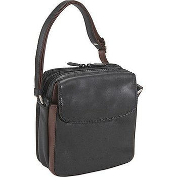DEREK ALEXANDER NS LEATHER TOP ZIP W/ REAR ORGANIZER, BK/BRANDY (OB-9583)