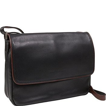 DEREK ALEXANDER LEATHER 3/4 FRONT FLAP INSIDE ORGANIZER BAG, BLK/BRANDY (OB-9585)