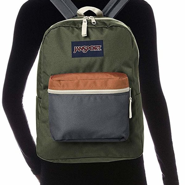 JANSPORT EXPOSED BACKPACK, MUTED GREEN/SOFT TAN (JS0A33SB)