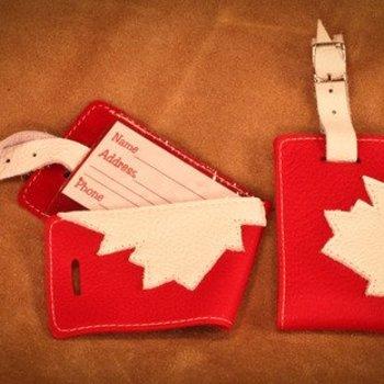 CANADIANA DEERSKIN LUGGAGE TAG