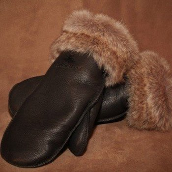 DEER FUR-TRIM MITT