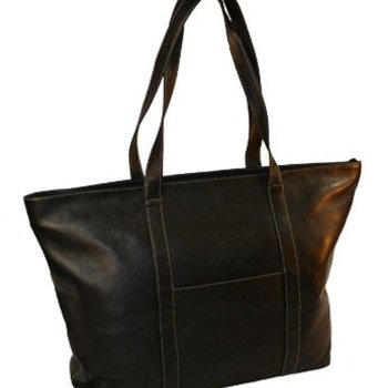 MOSAIC VAQUETTA LEATHER SUPER TOTE, BLK (777-1407)