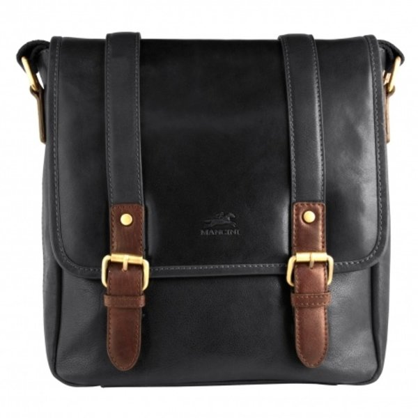 MANCINI CALABRIA LEATHER CROSSOVER BAG FOR TABLET, BLACK (95-503)