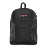 JANSPORT SUPER FX BACKPACK, BLACK SATIN DIAMOND QUILTING (JS00TVP8)