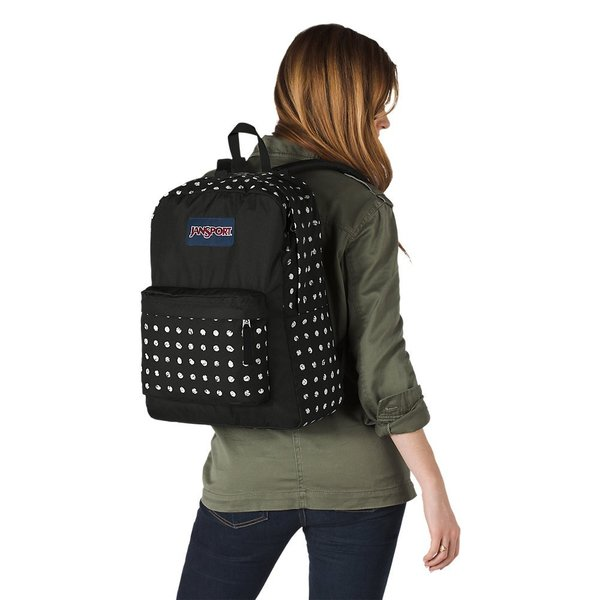 JANSPORT SUPERBREAK BACKPACK, BLACK SKETCH DOT (JS00T501)