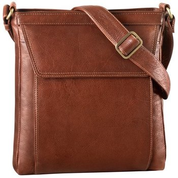 DEREK ALEXANDER MED UNISEX CROSS BODY TABLET FRIENDLY LEATHER BAG, WHISKY (BR-8001)
