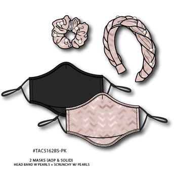 BOND STREET 2 FACE MASKS, HEADBAND & SCRUNCHY 4PC SET (TAC5162BS