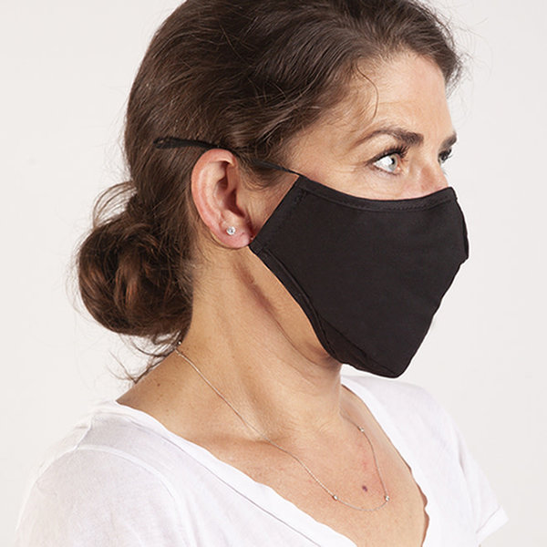 SWISS MOBILITY WASHABLE COTTON FACE MASKS 2PK WITH 1FILTER (TAC1139SM BLACK/BLACK)